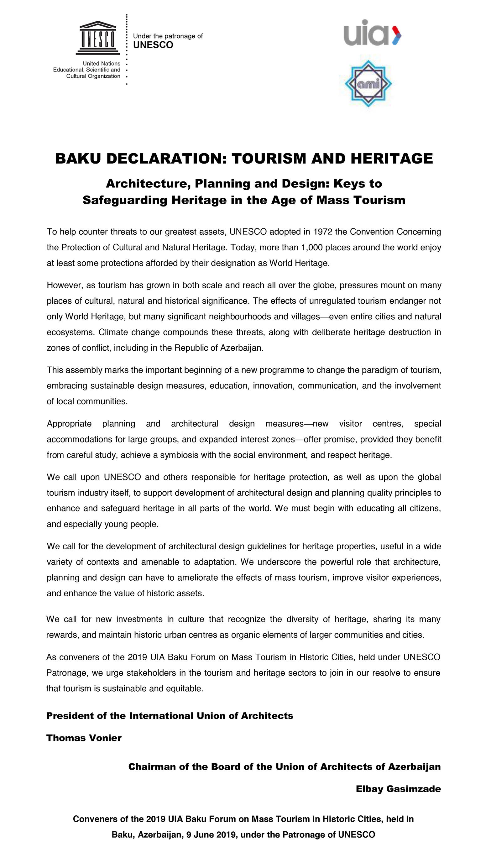 Carta Baku Turismo